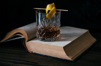 book and cocktail