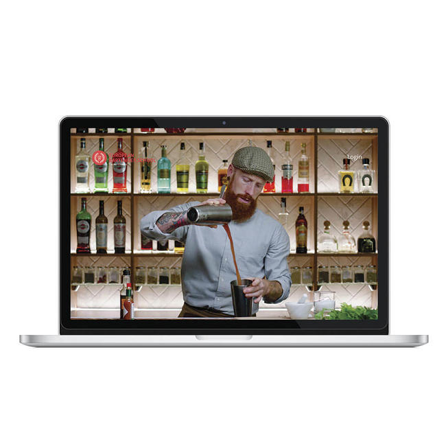 Online bartending course displaying on a laptop