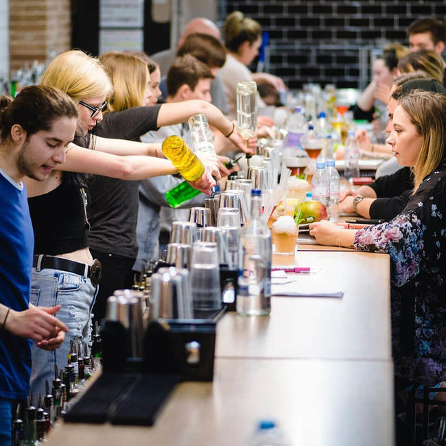 London bartending school practice