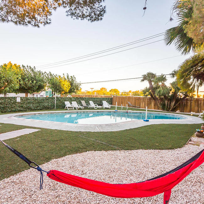 Hammock and pool in Las Vegas EBS Accommodation