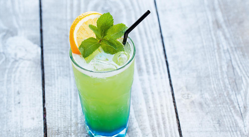 blue and green cocktail