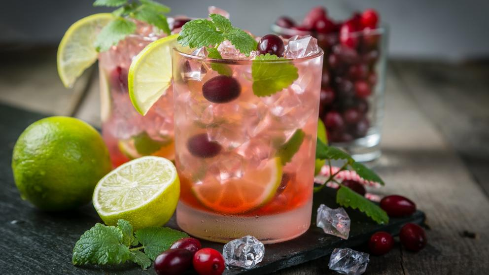 cranberry mojito cocktail christmas