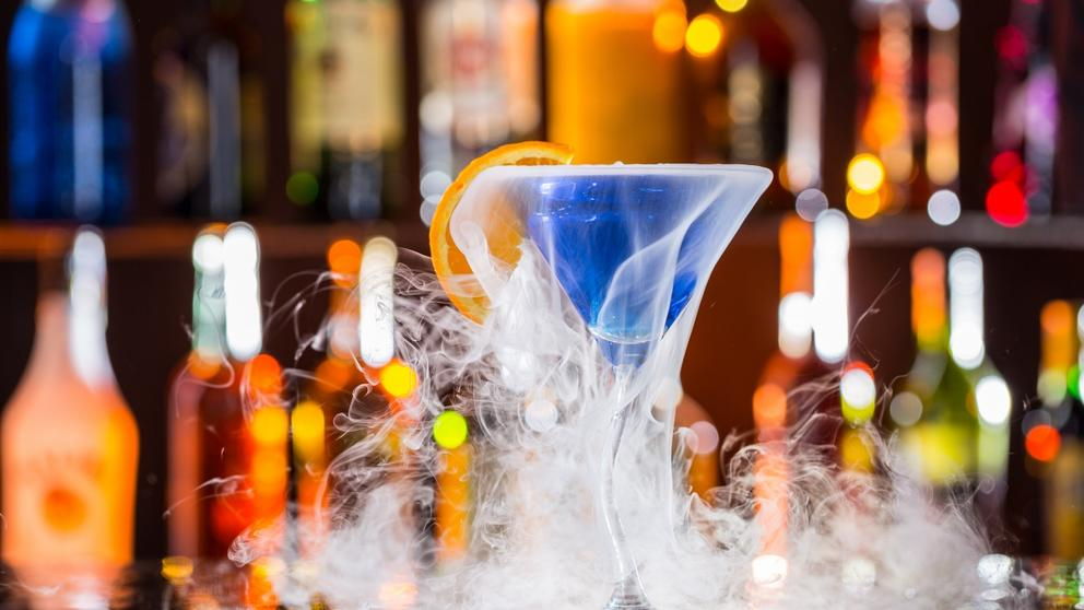 cocktail on bar dry ice